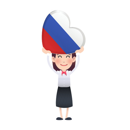 Business woman with russia flag heart over white background. Vector