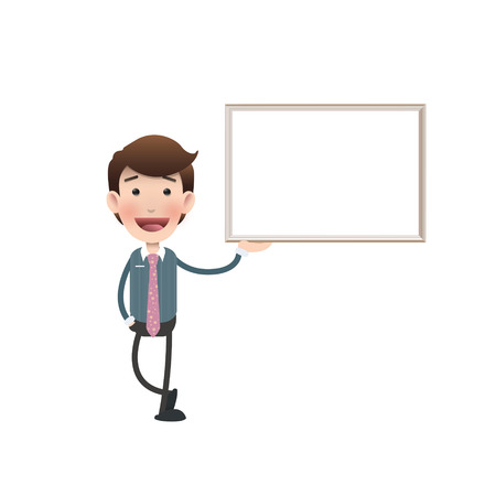 businessman with a frame over white background Vector