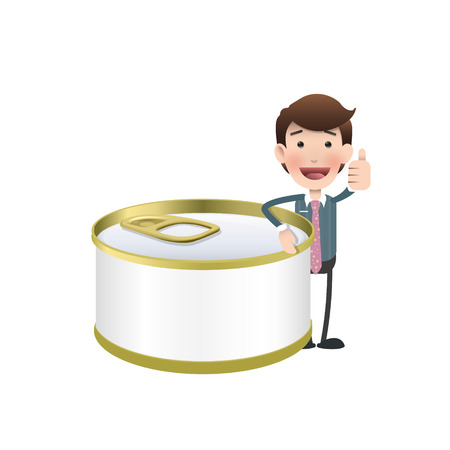 canned food: Businessman with can of tuna over white background