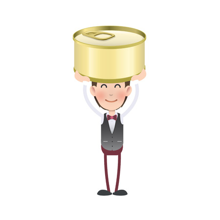 Businessman with can of tuna over white background Vector