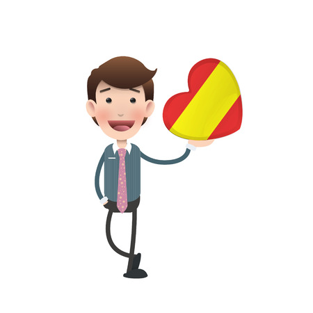 Businessman with spain flag heart over white background. Vector
