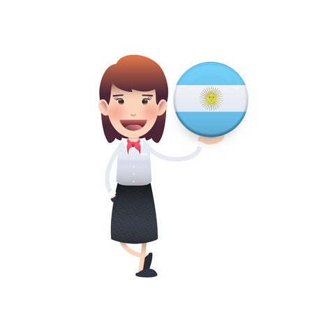 Business woman with Argentina button over white background Vector