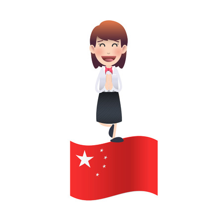 Business woman with chinese flag over white background Vector