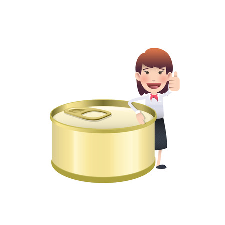 sardine: Business woman with can of tuna over white background Illustration