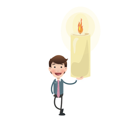 multiple birth: businessman with candle over white background