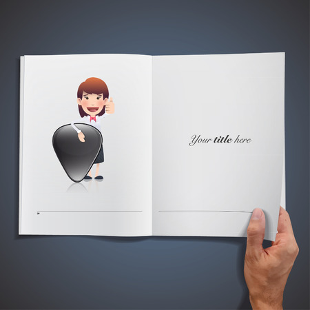 plectrum: Businesswoman holding a plectrum printed on book