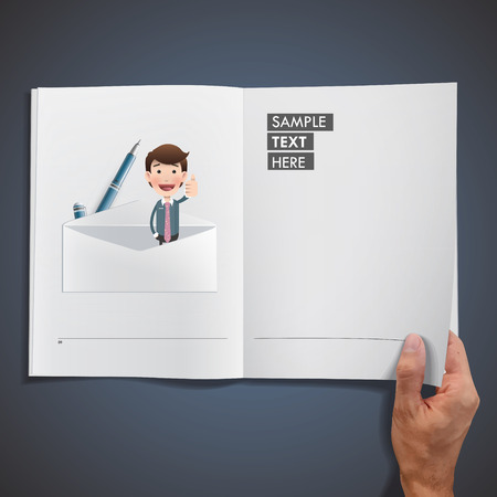 Businessman with envelope printed on book over blue background Vector