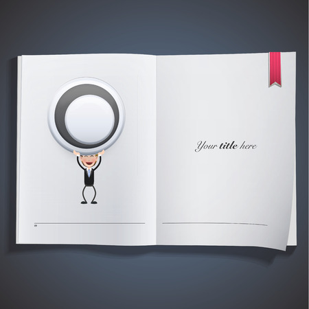 Businessman with empty button printed on book Vector