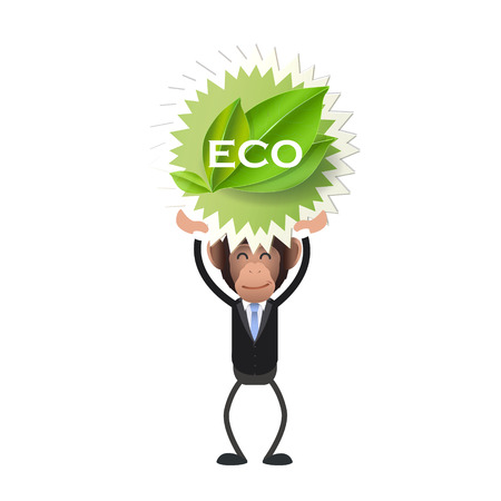 primate biology: Business monkey holding an ecological icon over white background Illustration
