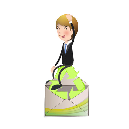 Businessman holding an ecological icon over white background Vector