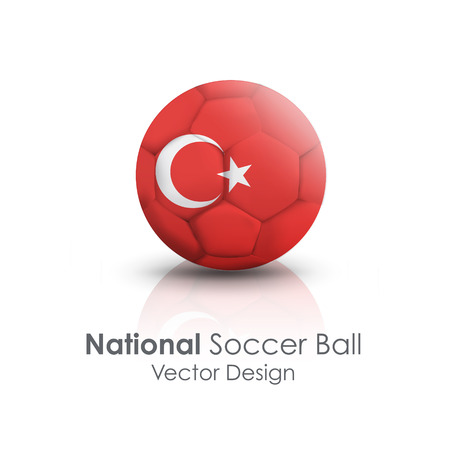 Soccer ball of Turkey over white background Vector
