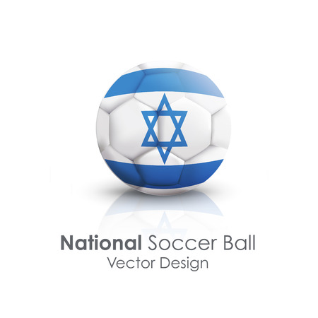 Soccer ball of Israel over white background Vector