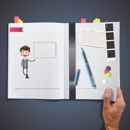 Homme d'affaires avec cadre imprimé sur le livre Banque d'images - 29070862