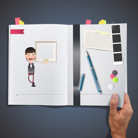 Businessman with framework printed on book