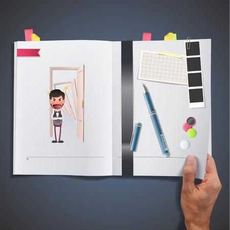 Businessman with door printed on book Vector