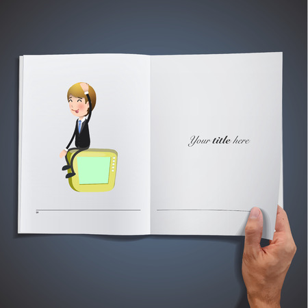 Businessman with TV printed on book Vector