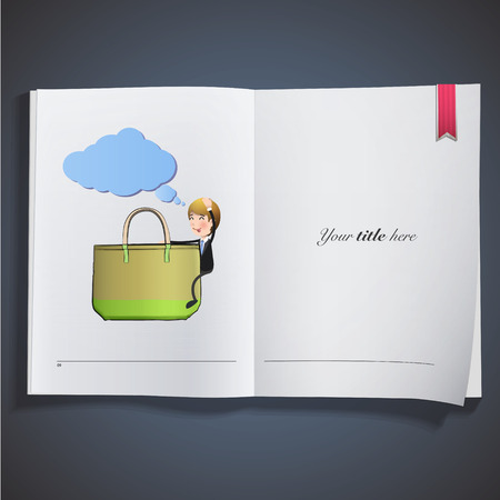 Businessman with bag printed on book Vector