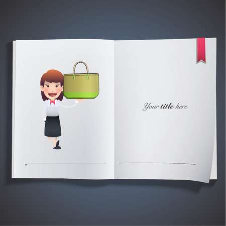 Business woman with bag printed on book Vector