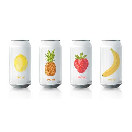 Grey tin of fruit juice. Vector design  Vector
