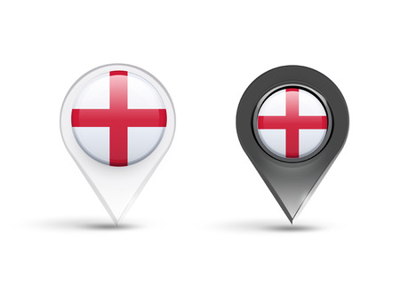 Pointers of England flag over white background Vector