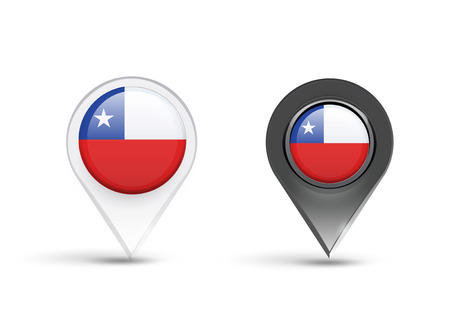 Pointers of Chile flag over white background Vector