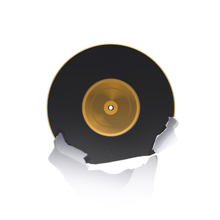Vinyl heart inside hole paper over white background