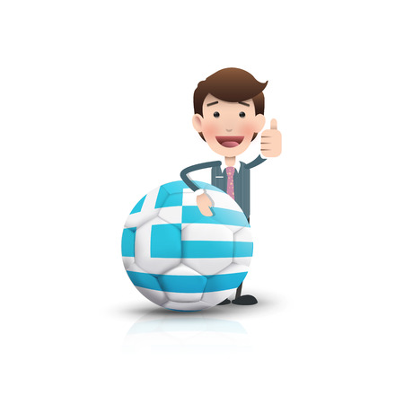 Businessman with soccer ball over white background  Vector