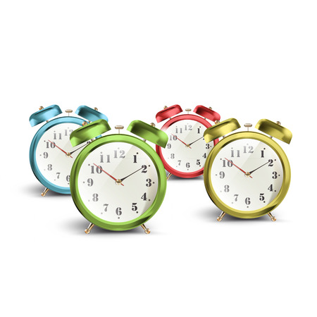 Set of colorful vintage table clocks over isolated white background Vector