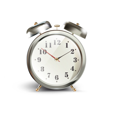 Vintage table clock over isolated white background Vector