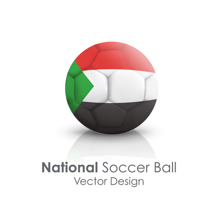 Soccer ball of Sudan over white background Vector