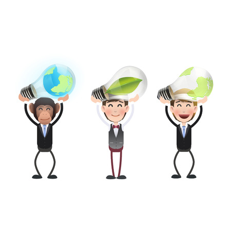 Business people holding ecologic bulbs over white background  Vector