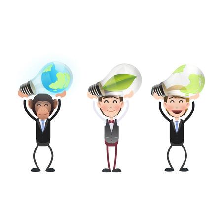 ecologic: La gente de negocios que sostienen las bombillas ecol�gicas sobre el fondo blanco Vectores