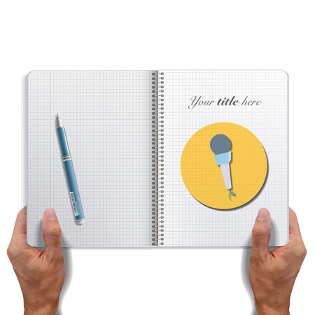 Icon web of microphone printed on book  Vector