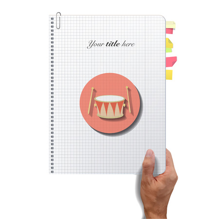 Icon web of drum printed on book  Vector