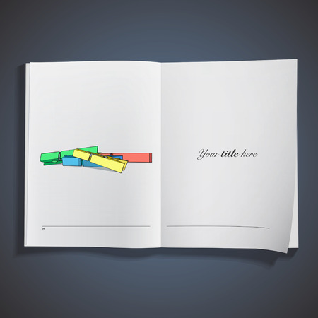 clothespeg: Colorful Clothespin printed on book