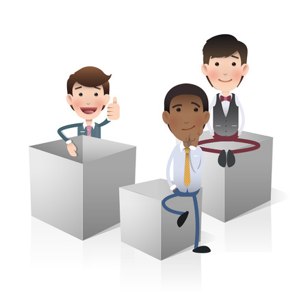 white boxes: Business people with white boxes. Vector design.  Illustration