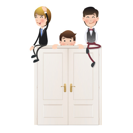 Business people with doors over white background  Vector