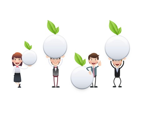 Business people with white button with leaf  Vector