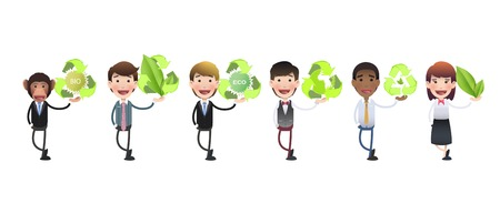 Business people holding ecological icons over white background  Vector
