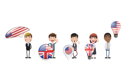 Business people people with language icons  Vector