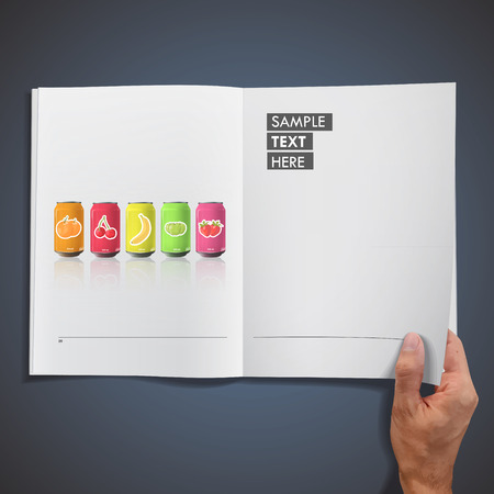 Set of colorful fruit juice printed on book  Vector