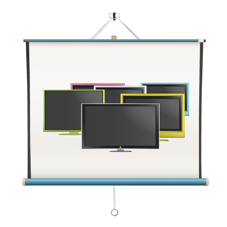 Collection of colorful TV inside projector screen over white background  Vector