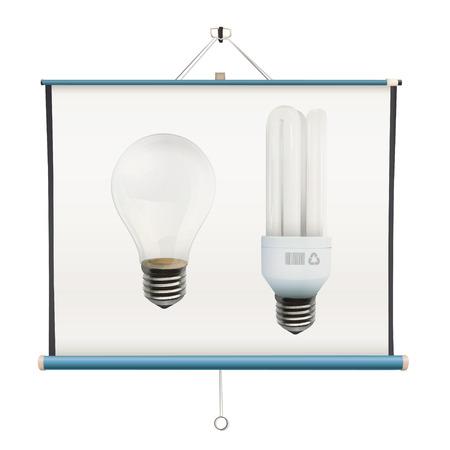 projector screen: Lampadine realistiche all'interno dello schermo del proiettore su sfondo bianco Vettoriali