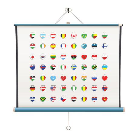 projector screen: Set di bandiere cuore dentro schermo del proiettore su sfondo bianco Vettoriali
