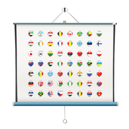 Set of flags heart inside projector screen over white background  Vector