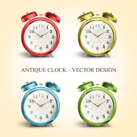 Set of colorful vintage table clocks over white background  Vector