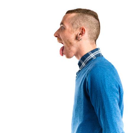 mockery: man making a mockery over isolated background