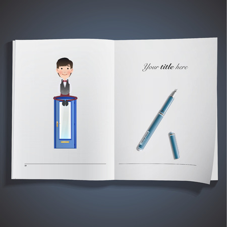 Business people with doors printed on book Vector