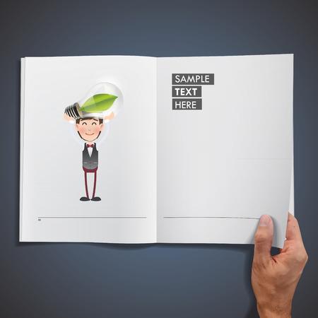 ecologic: La gente de negocios que sostienen la bombilla ecol�gica impresas en el libro
