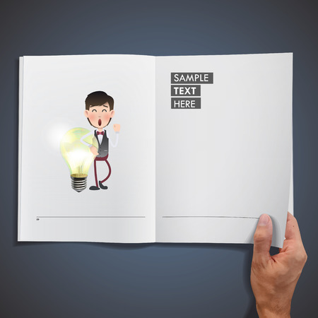 Business people holding ecologic bulb printed on book Vector